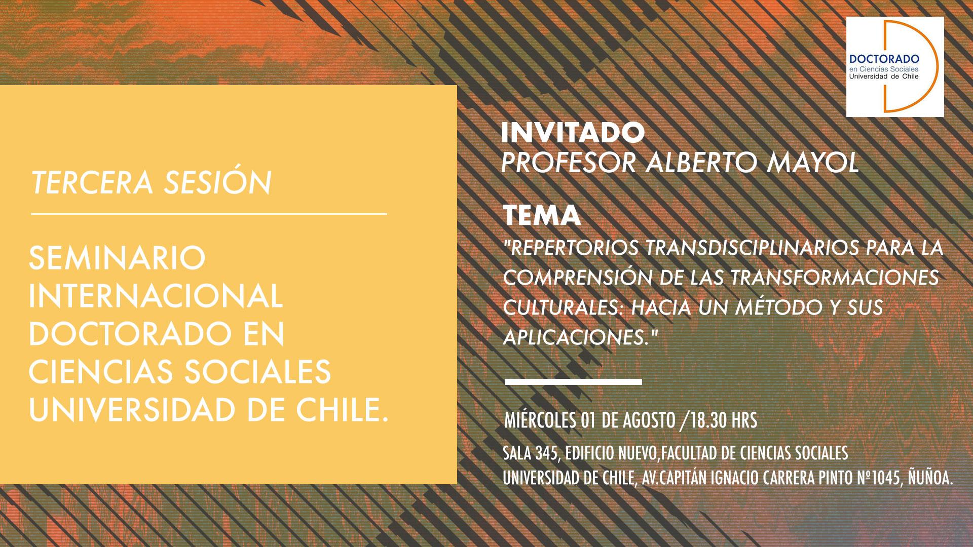 Tercera sesión seminario internacional. Invitado: Prof. Alberto Mayol.