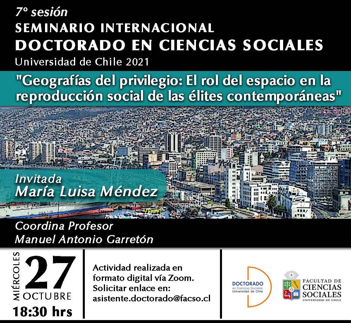 Séptima sesión del seminario Internacional del Doctorado en Ciencias Sociales 2021